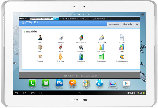 NeXT Web ERP Tablet Menu Principal