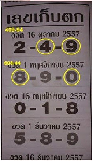 Thai Lotto 3up Tass Paper 16-11-2014