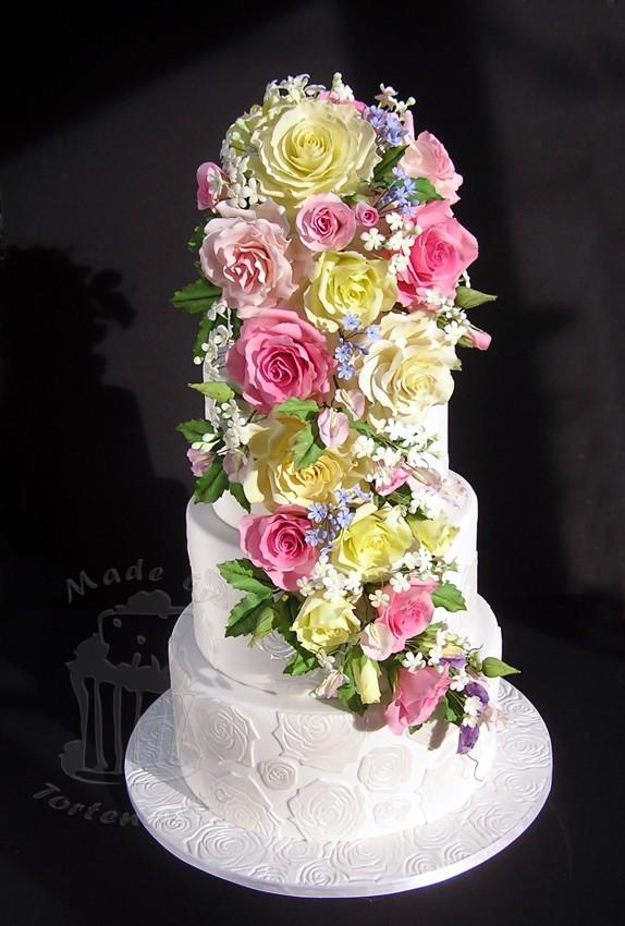 Hochzeit Wedding Cake Torte Fondant Zuckerrosen Blütenpaste