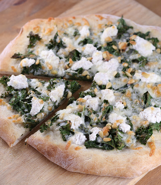 Kale, Pine Nut & Ricotta Pizza | sweetpeasandsaffron.com