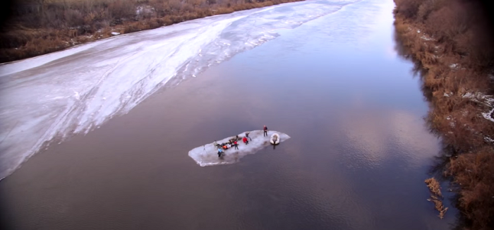 Adventurous Russians Go Camping On A Thick Sheet Of Floating Ice.