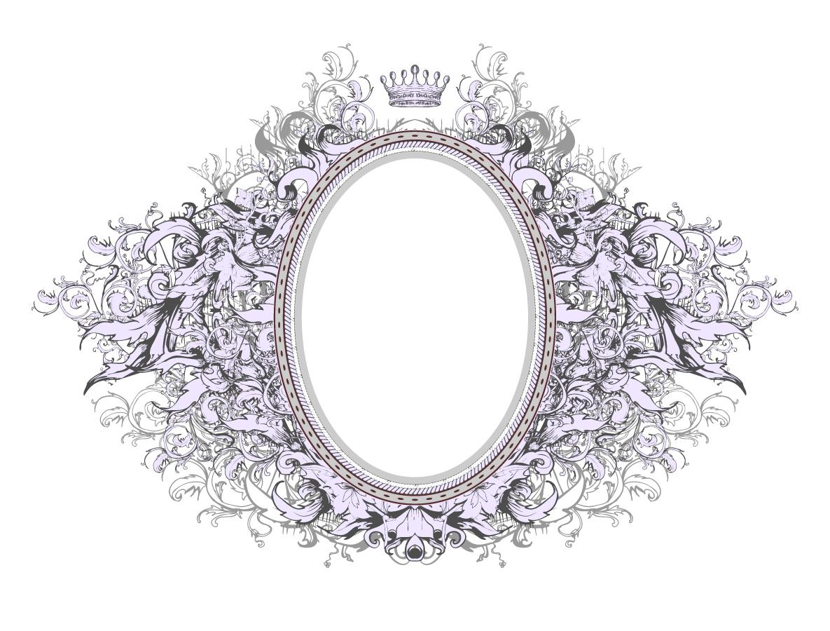 植物飾りが広がる王冠のフレーム gorgeous european crown frame イラスト素材