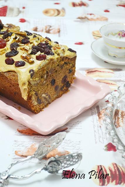 ... por Elena Pilar: Pound cake de café con pecanas y cranberries