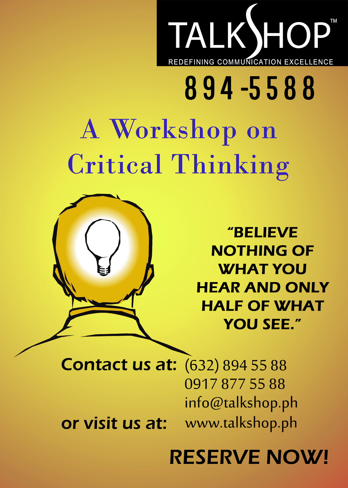 TalkShop Critical Thinking Workshop