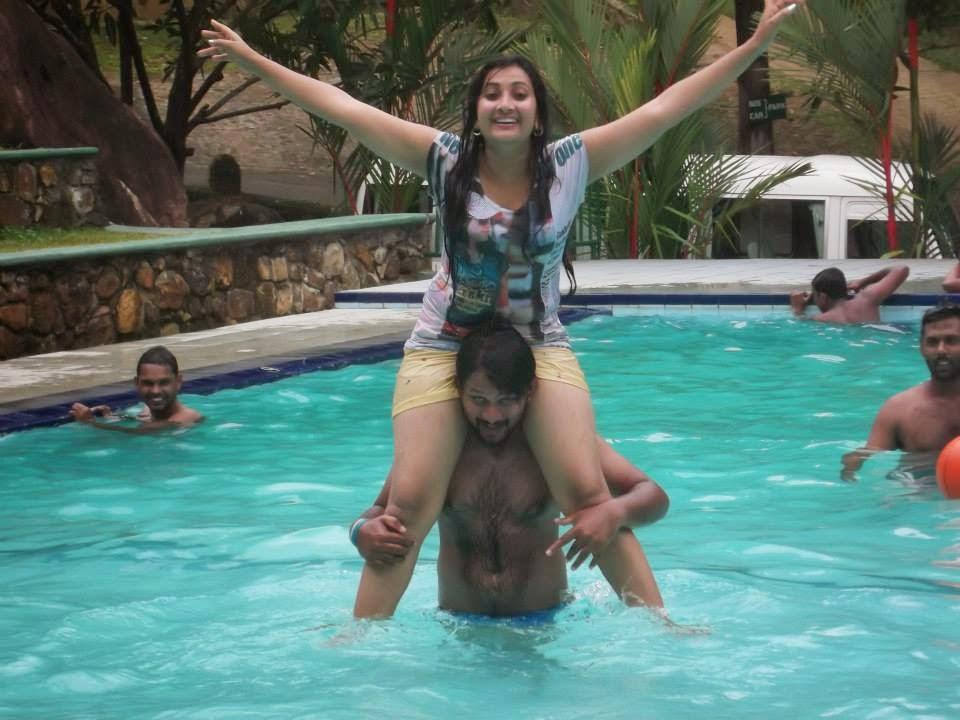 madhu nithyani in pool wet