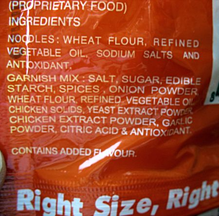 Ingredients of processed food