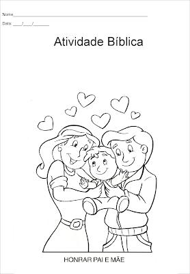 Os mandamentos - atividade para colorir -honrar pai e mãe
