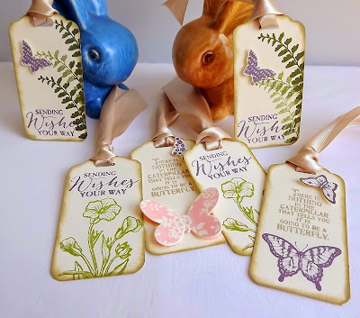 Stampin Up! Butterfly Basics vintage style gift tags
