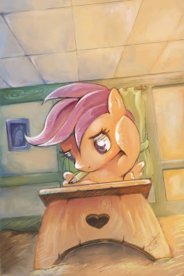 Scootaloo's quiz time by Bloo-Ocean. CC by-nc-nd 3.0