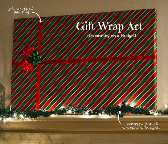 gift wrapped art on a mantel