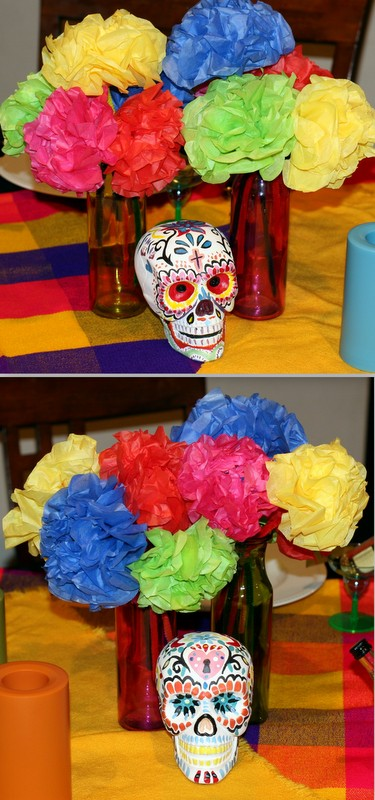 Invite and delight dia de los muertos party the brightly colored candles were also borrowed i bought colorful vases from the dollar store and made tissue paper flowers to add to the table mightylinksfo Choice Image