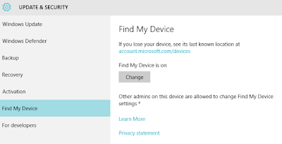 Update & Security - Find My Device - Windows 10 - One Cool Tip - www.onecooltip.com