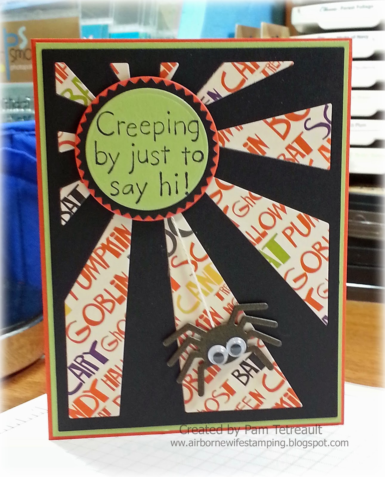 creeping by to say hi halloween card using mft sun ray die namics die - What To Say In A Halloween Card