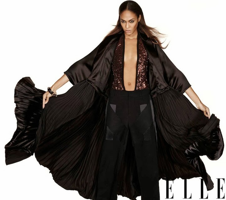 The return of the supermodel: Joan Smalls in Givenchy by Riccardo Tisci for ELLE January 2014