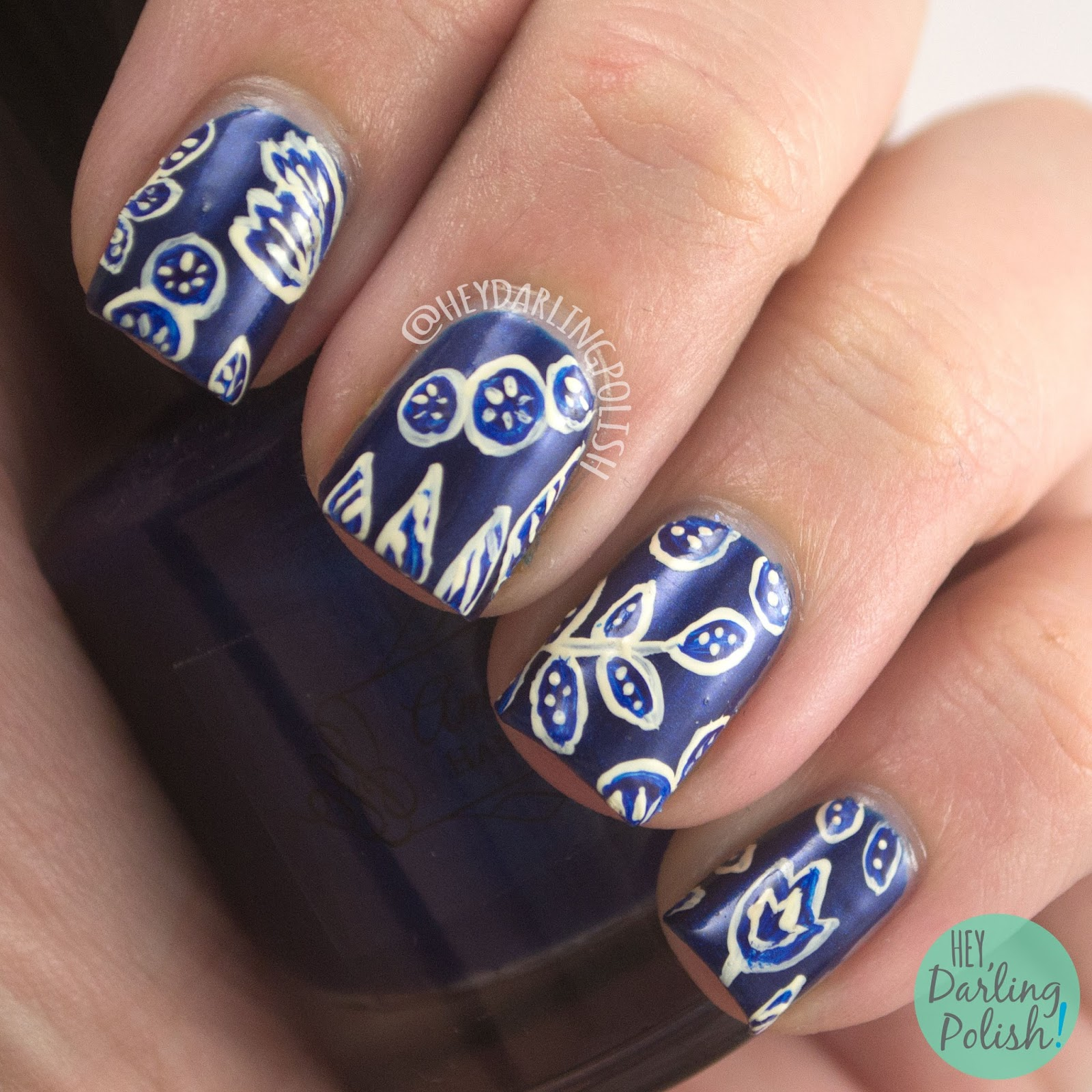 nails, nail art, nail polish, blue, print, hey darling polish, floral, flowers, 31 day challenge, 31dc2014