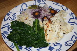 Spicy tilapia fillets with rice, veg and wilted spinach