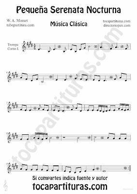 Tubepartitura Pequeña serenata nocturna de Mozart para Trompeta Música Clásica
