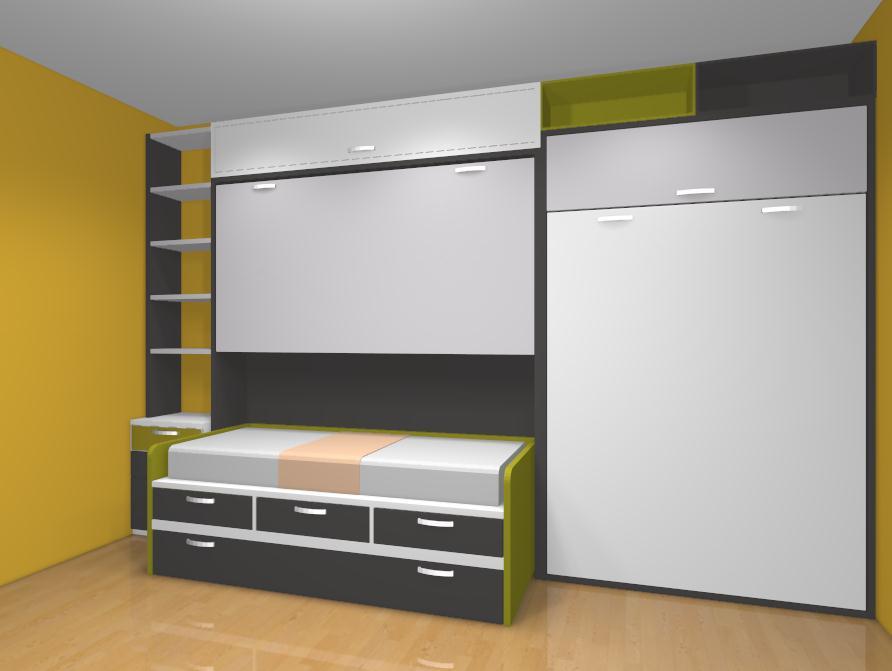 Dormitorio amueblado con cama abatible de matrimonio cama - Camas plegables de pared ...
