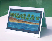 This card was sold, please email me and I'll make another (palm tree island card carrie bday)