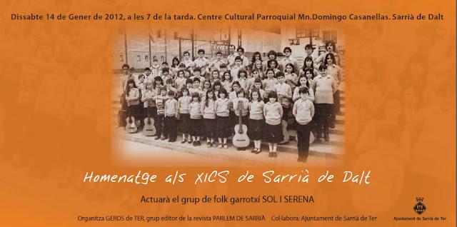 Targetó de l'homenatge als XICS de Sarrià de Dalt