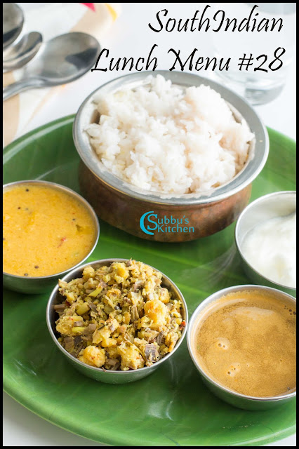SouthIndian Lunch Menu #28 - Mambazha Mor Kuzhambu, Vazhaipoo Paruppu Usili, Jeera Rasam, Curd and Rice