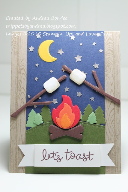 Card created with Love You S'More stamp set and dies (Lawn Fawn) and Confetti Stars border punch and Hardwood background stamp (Stampin' Up!).