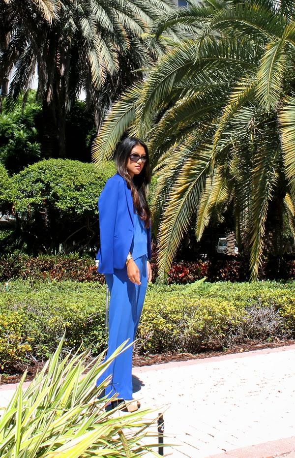 blue eight sixty jumpsuit, one piece, romper, oversized sunglasses, gucci, gucci sunglasses, bcbg maxazria peep toe slingback heels, guess gold watch, blue blazer, zara blazer, teen vogue, seventeen, fashion blogger, lynsee hee kyeong, style blog, asian fashion blogger, youtuber, popsugar fashion