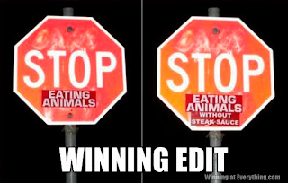 stop eating animals without steak sauce edited funny sign