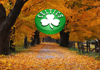 Boston Celtics Free Wallpapers Celtics Upward Logo in Autumn Trees backgrounds