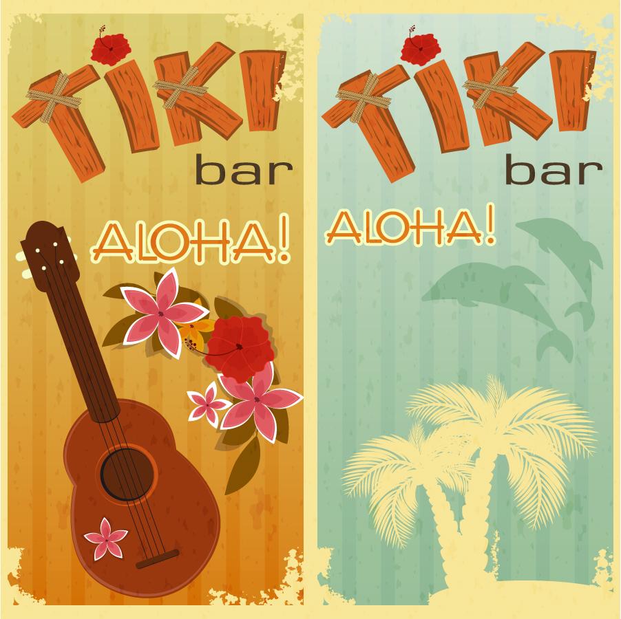 ハワイをイメージしたレトロな背景 Retro hawaii vector background イラスト素材