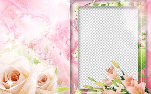 Portaretrato de lilas y rosas para poner la foto de tu mamá