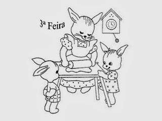 desenho da semaninha da mamãe coelha para pintar