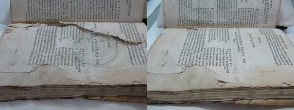 A book before and after conservation treatment.