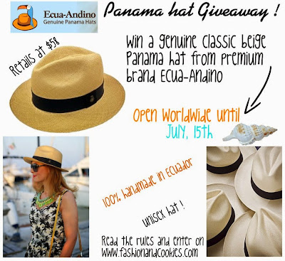 Ecua-Andino classic beige Panama hat Giveaway on Fashion and Cookies, $ 58 Panama hat