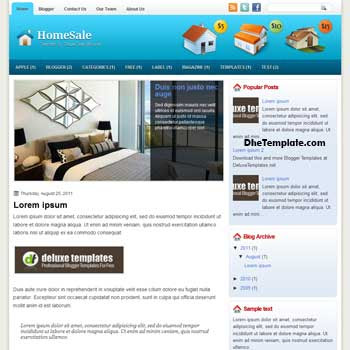 HomeSale blogger template. template blogspot magazine style