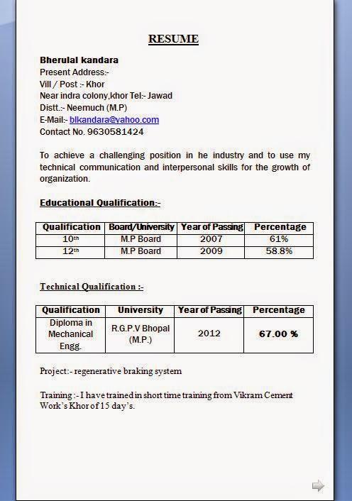 Resume Format Slim Image
