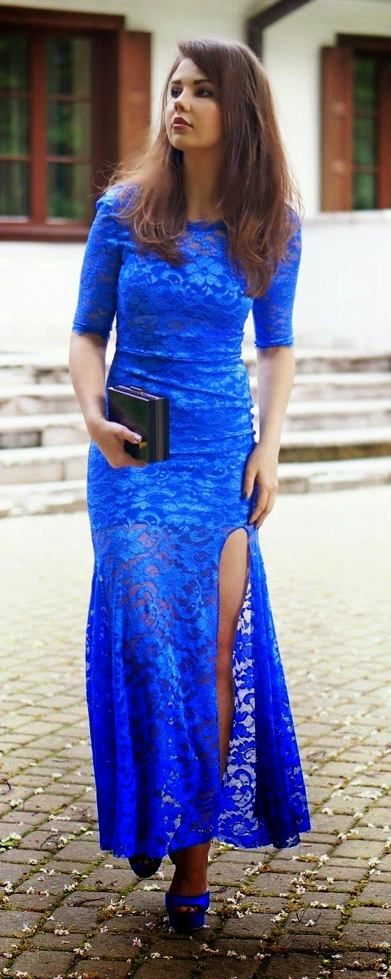 See more  Cute Blue Lace Dress fashion woman