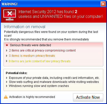 Internet Security 2012 Virus/Malware Removal Tools for Windows Users