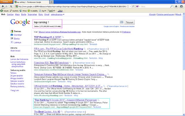 Hasil Posting Top Ranking 1 Google 2011 Setelah 96 Jam di Google Indonesia - Top Ranking 1