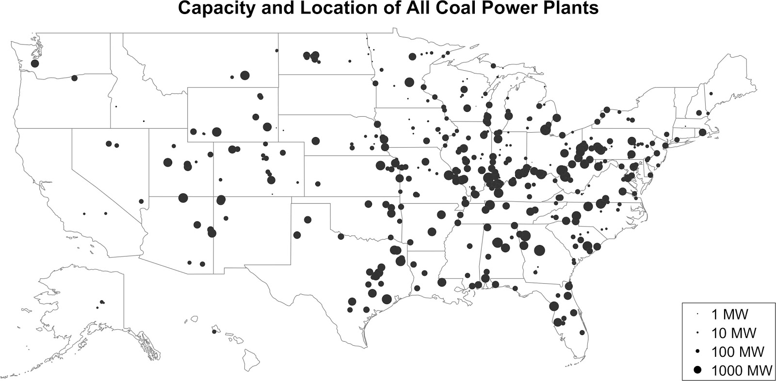 Capacity & location of all coal power plants
