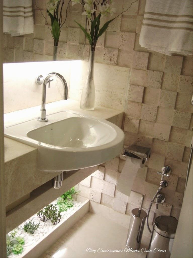 Construindo Minha Casa Clean Banheiros e Lavabos com Jardins de Inverno!!! Q -> Banheiro Pequeno Com Jardim De Inverno