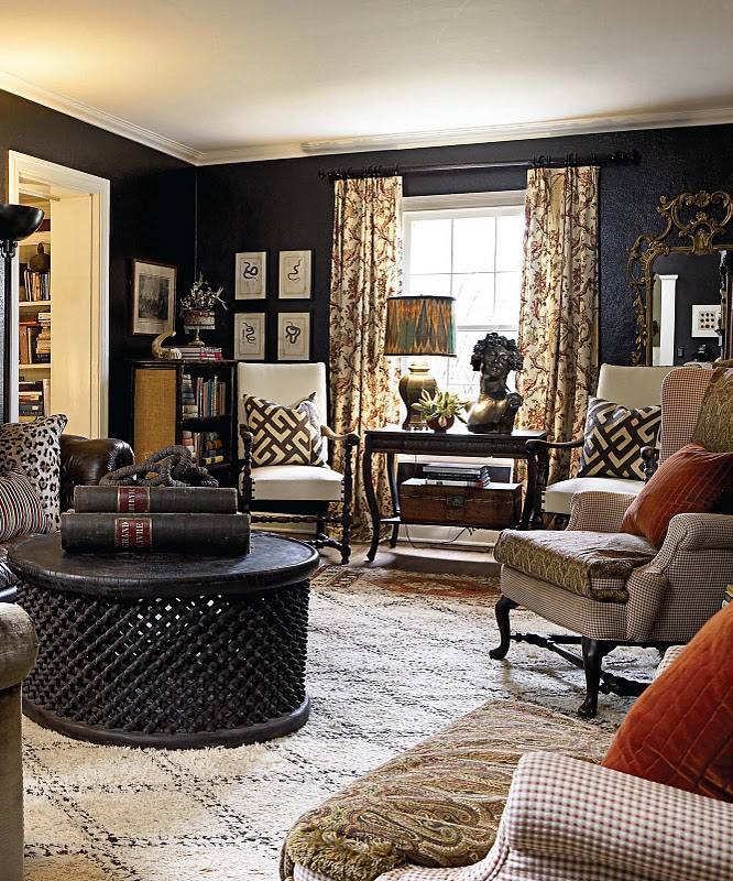 Color outside the lines love black walls librarys Room with black walls