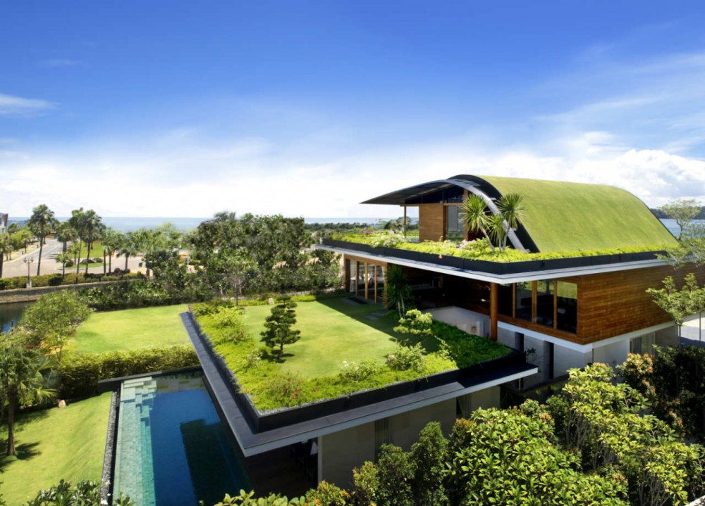 Beautiful green roof garden home singapore most for Most amazing houses