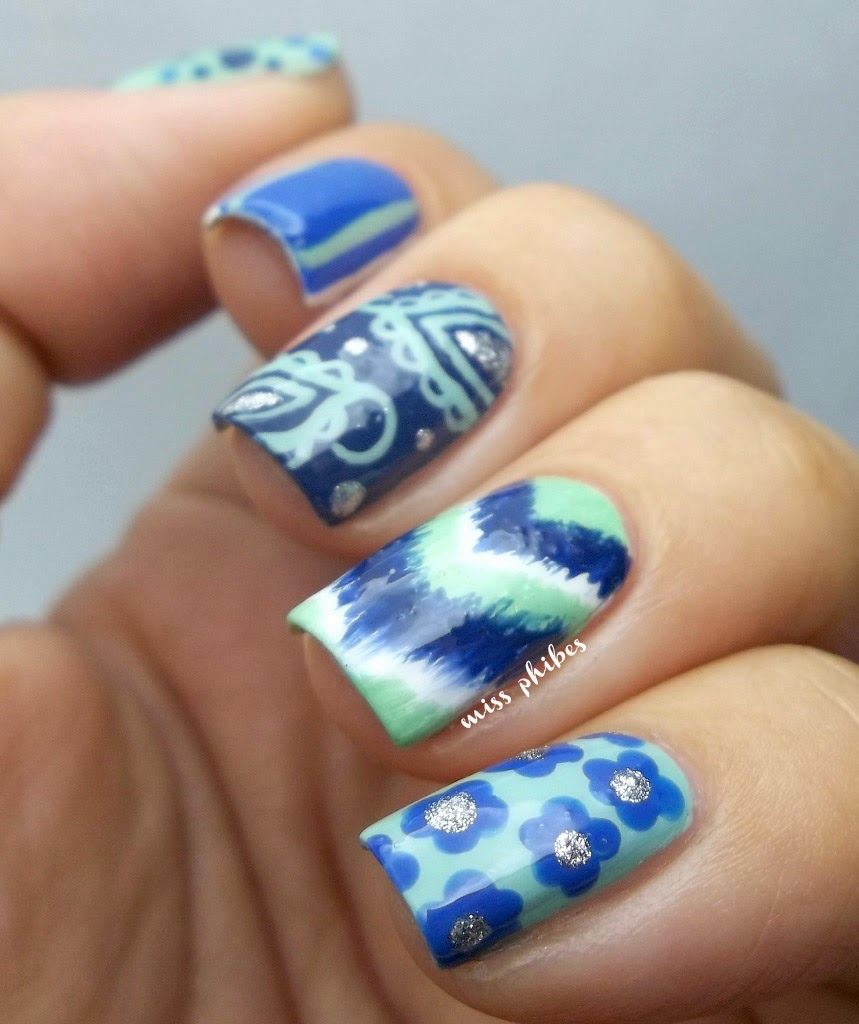 Nail Art verde y azul