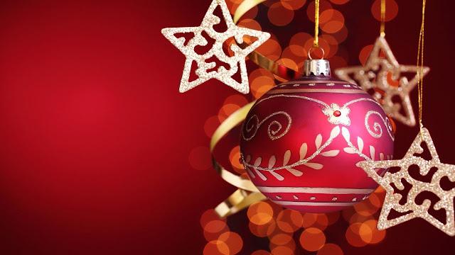 Christmas ball and stars.