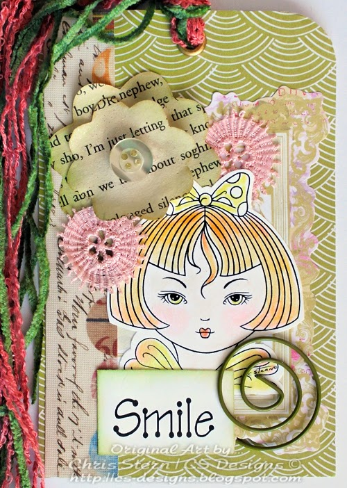 Smile Pretty Edwina Mixed Media Art Tag