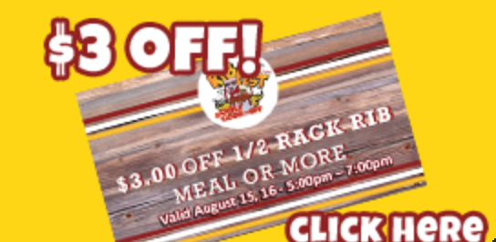 Lindsay Ribfest Kawartha Lakes Offers a printable $3 off Coupon for three dollars of fa 1/4 Back Rib Meal or More Valid August 15- 16 2014 image linked to Website