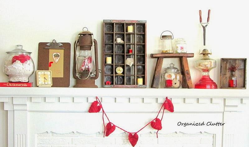 Rustic Vintage Valentine's Day Mantel www.organizedclutterqueen.blogspot.com