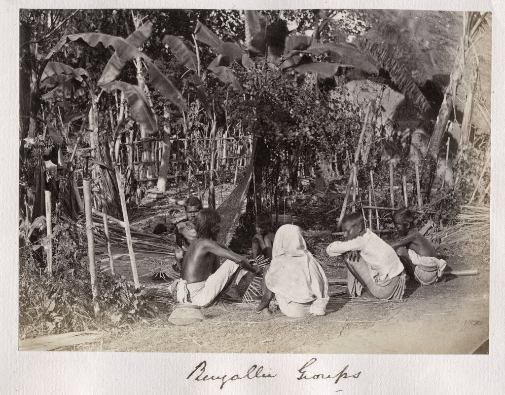 Bengali Village People Sitting Together and Working - c1880's